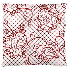 Transparent Decorative Lace With Roses Large Flano Cushion Case (two Sides)