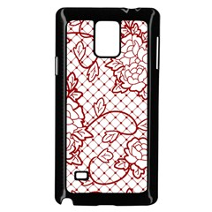 Transparent Decorative Lace With Roses Samsung Galaxy Note 4 Case (black)
