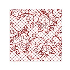 Transparent Decorative Lace With Roses Small Satin Scarf (square) by Nexatart