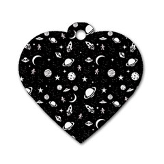 Space Pattern Dog Tag Heart (one Side) by ValentinaDesign