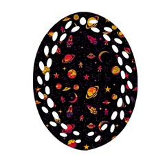 Space Pattern Oval Filigree Ornament (two Sides) by ValentinaDesign