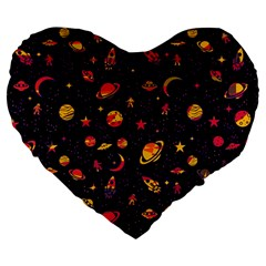 Space Pattern Large 19  Premium Flano Heart Shape Cushions by ValentinaDesign