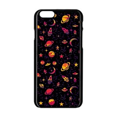 Space Pattern Apple Iphone 6/6s Black Enamel Case by ValentinaDesign