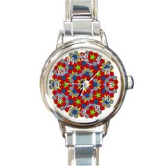 Penrose Tiling Round Italian Charm Watch by Nexatart