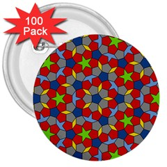 Penrose Tiling 3  Buttons (100 Pack)  by Nexatart