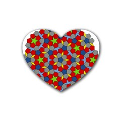 Penrose Tiling Rubber Coaster (heart)  by Nexatart