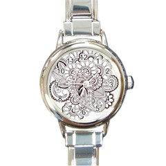 Henna Line Art Clipart Round Italian Charm Watch by Nexatart