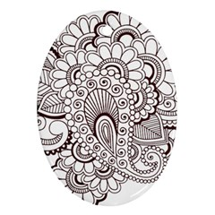 Henna Line Art Clipart Ornament (oval)