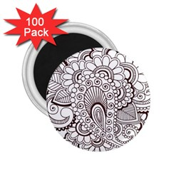 Henna Line Art Clipart 2 25  Magnets (100 Pack)  by Nexatart