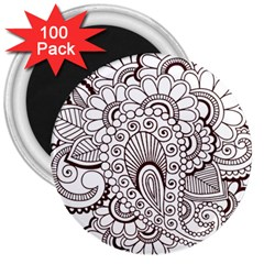 Henna Line Art Clipart 3  Magnets (100 Pack)