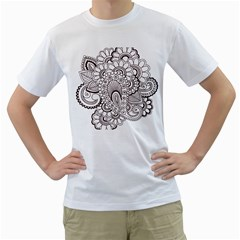 Henna Line Art Clipart Men s T Shirt (white) (two Sided)
