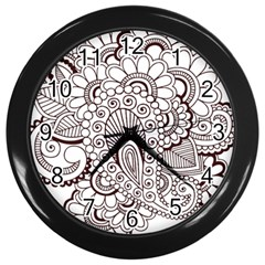 Henna Line Art Clipart Wall Clocks (black)