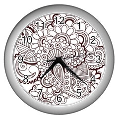 Henna Line Art Clipart Wall Clocks (silver)  by Nexatart