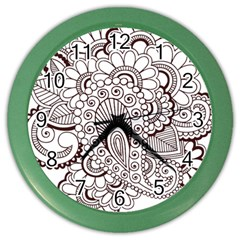 Henna Line Art Clipart Color Wall Clocks