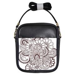 Henna Line Art Clipart Girls Sling Bags by Nexatart