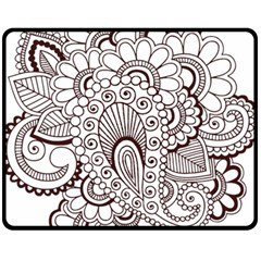 Henna Line Art Clipart Fleece Blanket (medium)  by Nexatart