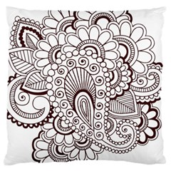 Henna Line Art Clipart Large Cushion Case (two Sides) by Nexatart