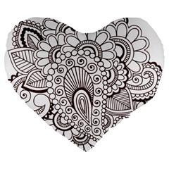 Henna Line Art Clipart Large 19  Premium Heart Shape Cushions by Nexatart