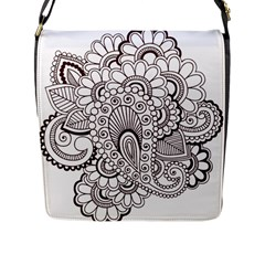 Henna Line Art Clipart Flap Messenger Bag (l)  by Nexatart