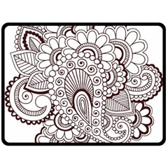 Henna Line Art Clipart Double Sided Fleece Blanket (large)