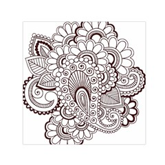 Henna Line Art Clipart Small Satin Scarf (square) by Nexatart