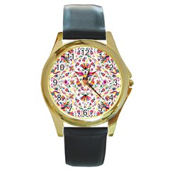 Otomi Vector Patterns On Behance Round Gold Metal Watch