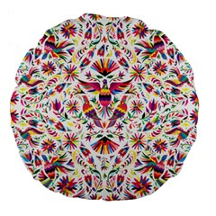 Otomi Vector Patterns On Behance Large 18  Premium Flano Round Cushions