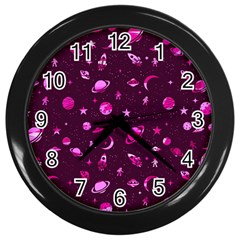 Space Pattern Wall Clocks (black) by ValentinaDesign
