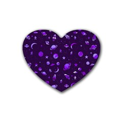 Space Pattern Rubber Coaster (heart)  by ValentinaDesign