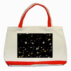 Space Pattern Classic Tote Bag (red) by ValentinaDesign