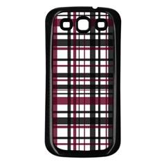 Plaid Pattern Samsung Galaxy S3 Back Case (black) by ValentinaDesign