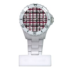 Plaid Pattern Plastic Nurses Watch by ValentinaDesign