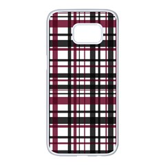 Plaid Pattern Samsung Galaxy S7 Edge White Seamless Case by ValentinaDesign