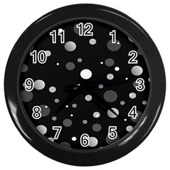 Decorative Dots Pattern Wall Clocks (black) by ValentinaDesign