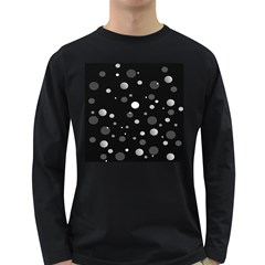 Decorative Dots Pattern Long Sleeve Dark T Shirts by ValentinaDesign