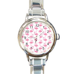 Pink Flamingos Pattern Round Italian Charm Watch by Nexatart