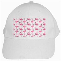 Pink Flamingos Pattern White Cap by Nexatart
