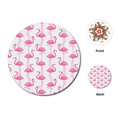 Pink Flamingos Pattern Playing Cards (round)