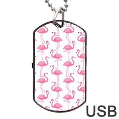 Pink Flamingos Pattern Dog Tag Usb Flash (one Side) by Nexatart
