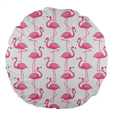 Pink Flamingos Pattern Large 18  Premium Round Cushions by Nexatart
