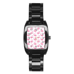 Pink Flamingos Pattern Stainless Steel Barrel Watch