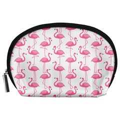 Pink Flamingos Pattern Accessory Pouches (large)