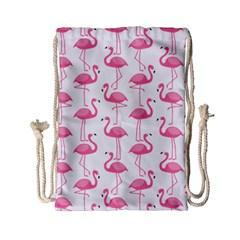 Pink Flamingos Pattern Drawstring Bag (small)