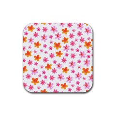 Watercolor Summer Flowers Pattern Rubber Coaster (square)  by TastefulDesigns