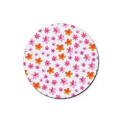 Watercolor Summer Flowers Pattern Rubber Round Coaster (4 Pack)  by TastefulDesigns
