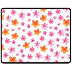 Watercolor Summer Flowers Pattern Fleece Blanket (medium)  by TastefulDesigns