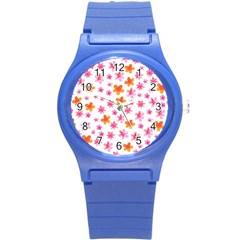 Watercolor Summer Flowers Pattern Round Plastic Sport Watch (s) by TastefulDesigns