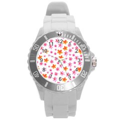 Watercolor Summer Flowers Pattern Round Plastic Sport Watch (l) by TastefulDesigns