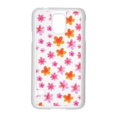 Watercolor Summer Flowers Pattern Samsung Galaxy S5 Case (white) by TastefulDesigns