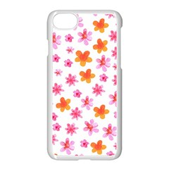 Watercolor Summer Flowers Pattern Apple Iphone 7 Seamless Case (white) by TastefulDesigns